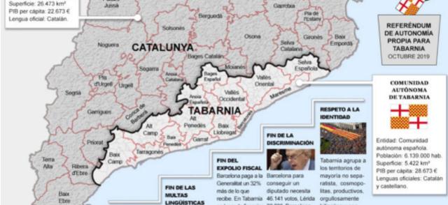 Mapa de la propuesta de la supuesta Tabarnia