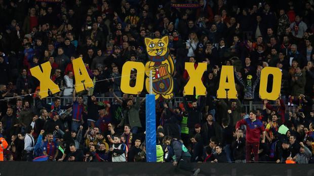Pancarta mostrada en el Camp Nou durante el encuentro contra el Español