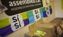 Publicidad en el interior de la sede de la Asamblea Nacional Catalana (ANC).