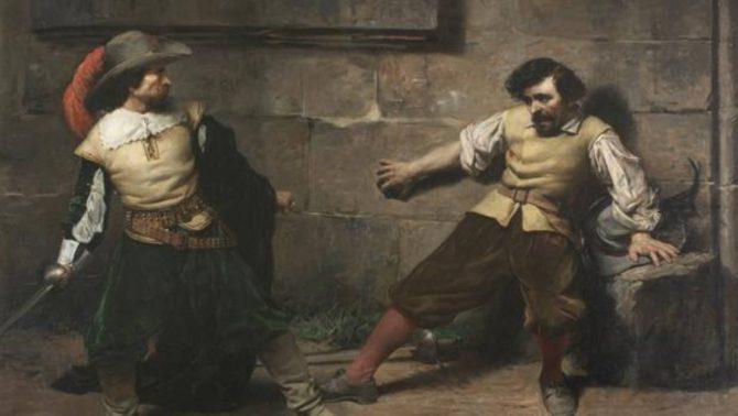 Representa el momento en que uno de los combatientes cae mortalmente herido, en un lance del siglo XVII