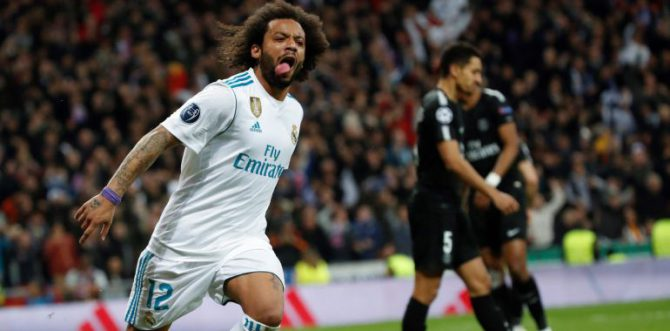 Marcelo celebra su gol al PSG.