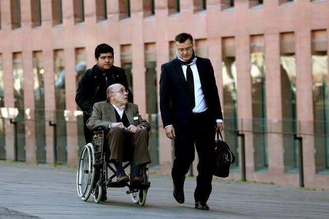 El expresidente del Palau de la Música, Félix Millet, llega a la Ciutat de la Justicia, este martes.
