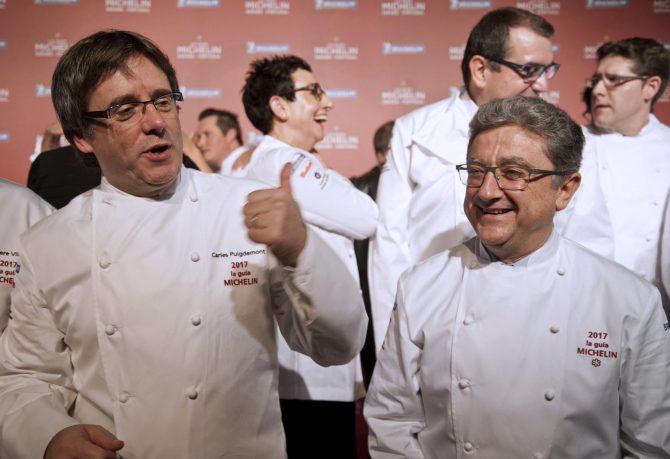 Carles Puigdemont y Enric Millo, durante una gala Michelín en Gerona