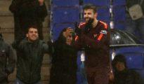 Piqué después de marcar su gol contra el Espanyol