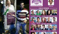 El padre de Gabriel, pegando un cartel electoral de Podemos.