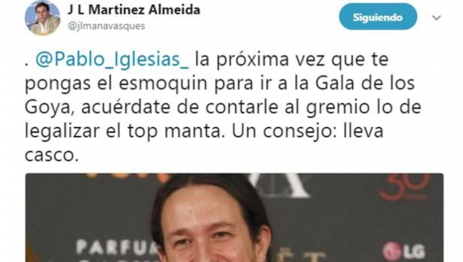 Tuit del portavoz del PP de Madrid sobre la propuesta de Podemos