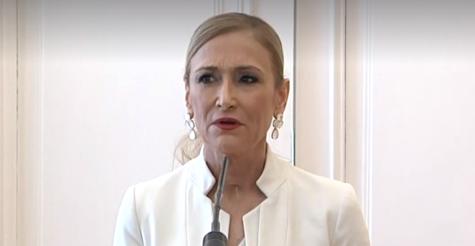 Cristina Cifuentes, en el momento de anunciar su renuncia
