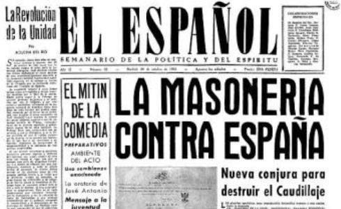 Portada de un periódico durante el régimen de Franco.