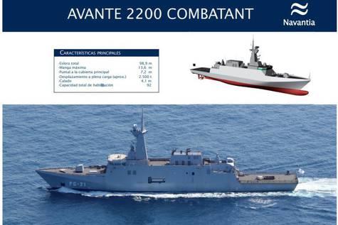 Así serán las cinco corbetas Avante 2200.Navantia
