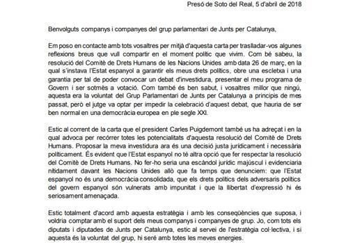 Extracto de la Carta de Jordi Sánchez