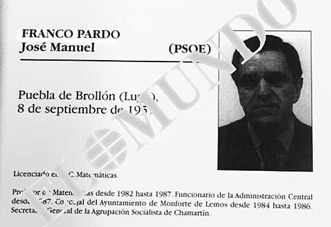 Ficha de Franco donde incluía la Licenciatura de Matemáticas (El Mundo).