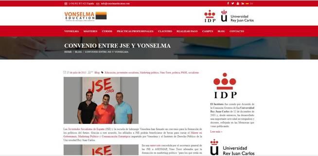 Captura de la web de Vonselma donde el instituto anunció el acuerdo con JSE.
