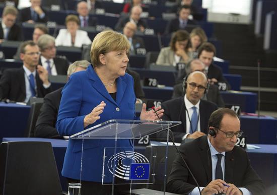 Merkel en el Parlamento Europeo.