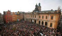 Manifestación ciudadana en Estocolmo por el escándalo en la Academia Sueca