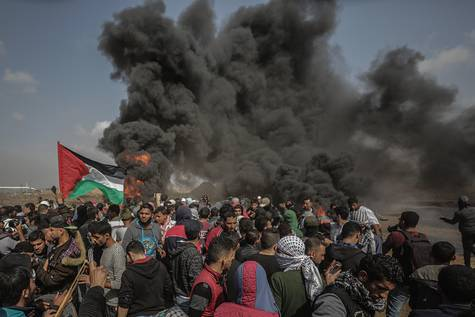 Protestas de palestinos en la frontera con Israel