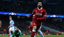 Salah celebra su gol en el Manchester City - Liverpool.