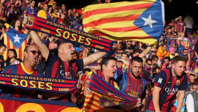 Banderas independentistas durante la final de Copa de 2016
