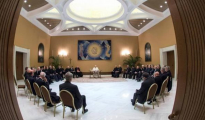 El Papa durante su reunión con los 34 obispos chilenos