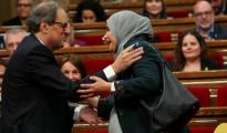 El presidente Quim Torra con la diputada de ERC Najat Driouech