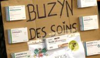 Una pancarta durante las protestas por la situación de la Sanidad francesa