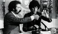 José María Íñigo, junto a Uri Geller en «Directísimo»