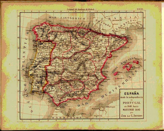 España desde la independencia de Portugal en 1640, hasta 1876.