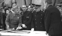 Franco en una visita al Valle de los Caídos en 1940