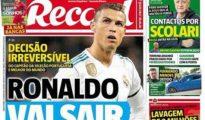 Portada del diario 'Record' donde se confirma la salida de Cristiano del Real Madrid.