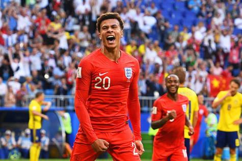 El inglés Dele Alli celebra el definitivo 2-0 ante Suecia en las semifinales.