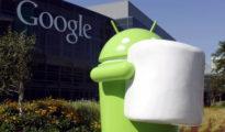 Google muestra su estatua 'Android Marshmallow', nombre de su sistema operativo.
