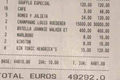 La cuenta de la comilona, que se alargó hasta las 7.00, ascendió a casi 50.000 euros/ Twitter