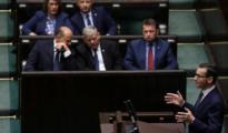 Mateusz Morawiecki, primer ministro polaco, durante su intervención sobre la Ley del Holocausto