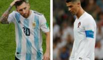 Messi y Cristiano tras quedar eliminados del Mundial
