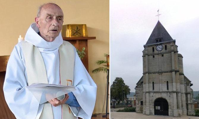 El padre Jacques Hamel () degollado por yihadistas del ISIS en su iglesia de Saint-Étienne-du-Rouvray (d) el 26 de julio de 2016.