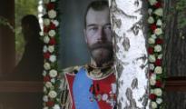Un retrato del zar Nicolás II en la marcha celebrada este martes