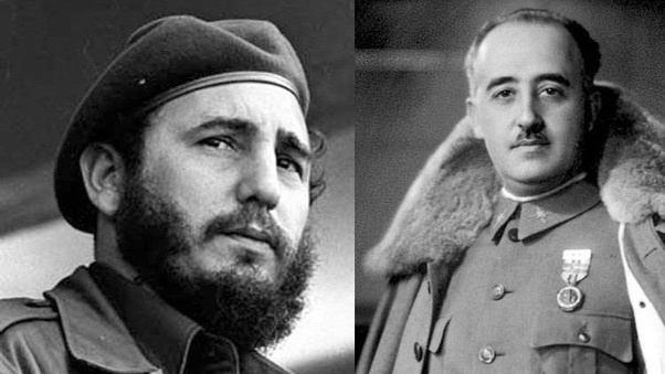 Fidel Castro y Francisco Franco.
