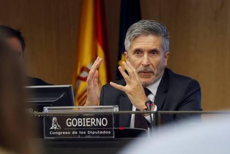 Fernando Grande-Marlaska, ministro del Interior, durante su comparecencia este miércoles en el Congreso.