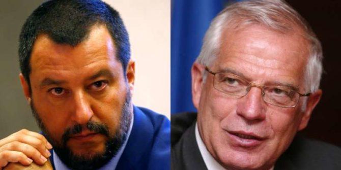 El ministro del Interior italiano, Matteo Salvini, y el de Exteriores de España, Josep Borrell.