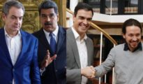 De izquierda a derecha, Zapatero, Maduro, Sánchez e Iglesias.