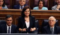 La vicepresidenta del Gobierno, Carmen Calvo, durante la sesión de control al Ejecutivo