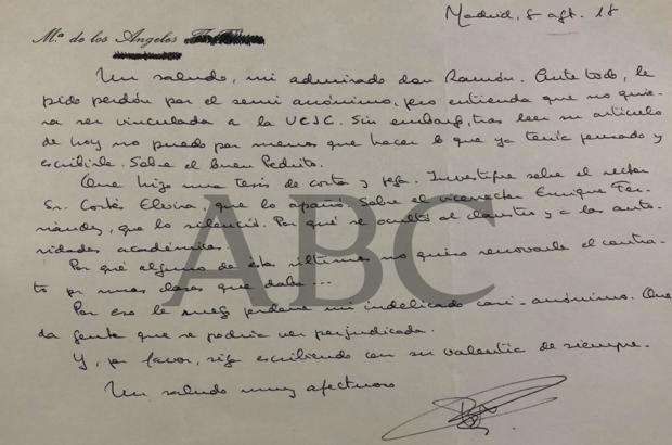 Carta anónima de un académico de la UCJC - ABC