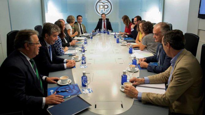 El presidente del PP, Pablo Casado, preside la reunión del comité de dirección de la formación.