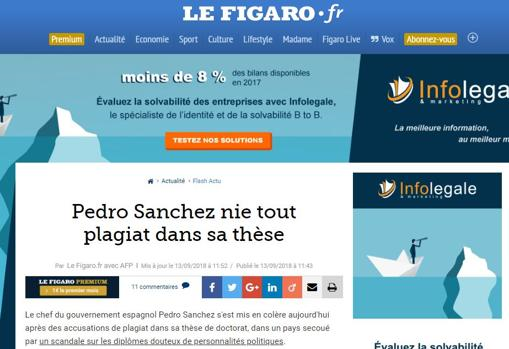 Captura de la noticia en el portal Le Figaro
