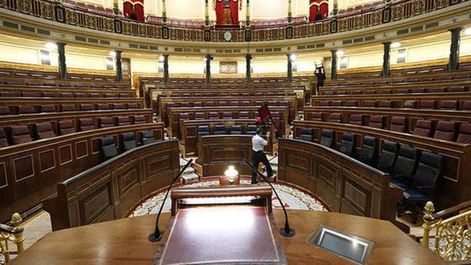 Vista general del hemiciclo vacío del Congreso de los Diputados.