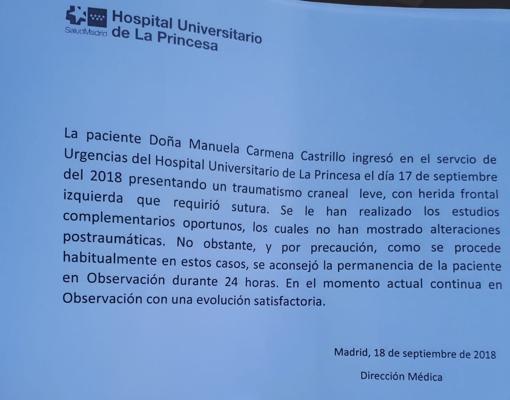 Parte médico de Manuela Carmena