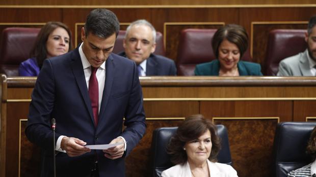 El presidente del Gobierno, Pedro Sánchez, durante la sesión de control al Gobierno en el Congreso del pasado miércoles