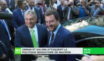 El primer ministro húngaro, Viktor Orbán, y el ministro italiano del Interior, Matteo Salvini, en Milán (Italia), el pasado 28 de agosto. (Imagen tomada de un vídeo de RT France).