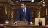 Pedro Sánchez, durante la moción de censura al Gobierno de Mariano Rajoy