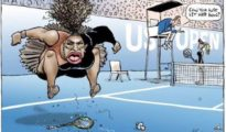 Caricatura de Mark Knight de Serena Williams / Fuente: Twitter (@Knightcartoons)