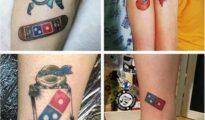 Tatuajes con el logo de Domino's Pizza.
